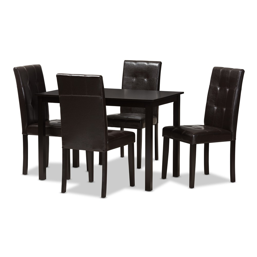Avery Modern And Contemporary Faux Leather Upholstered 5pc Dining Set Dark Brown - Baxton Studio