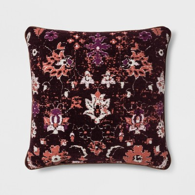 Woven Floral Square Throw Pillow Berry - Threshold™
