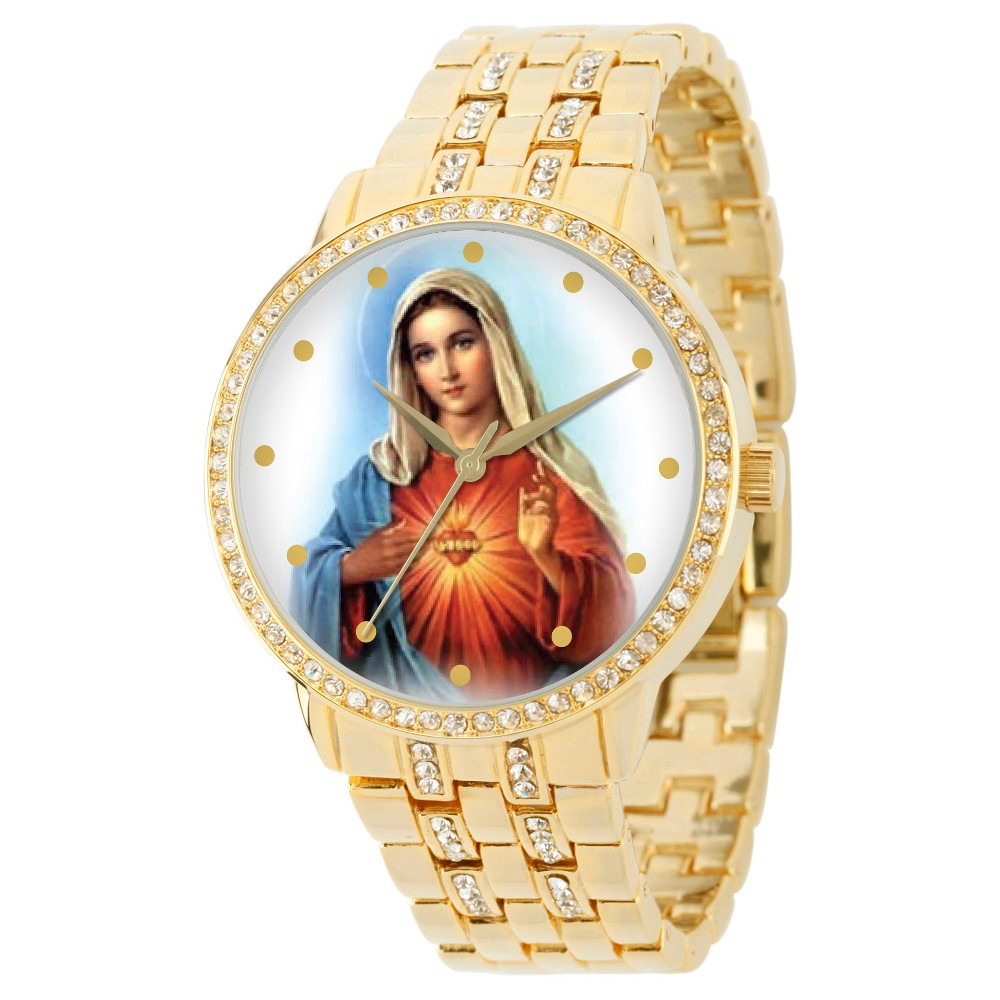 Men's eWatchfactory Our Lady of Guadalupe Round Bracelet Watch - Gold Men's ewatchfactory Our Lady of Guadalupe Round Bracelet Watches - Gold by Ewatchfactory. The timepiece displays artwork from your favorite character on the face. Gender: Male. Age Group: Adult. Pattern: Solid.