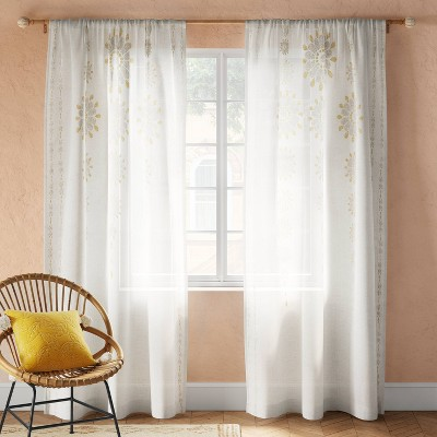 "84""x54"" Amber Medallion Sheer Curtain Panel Off White - Opalhouse™"