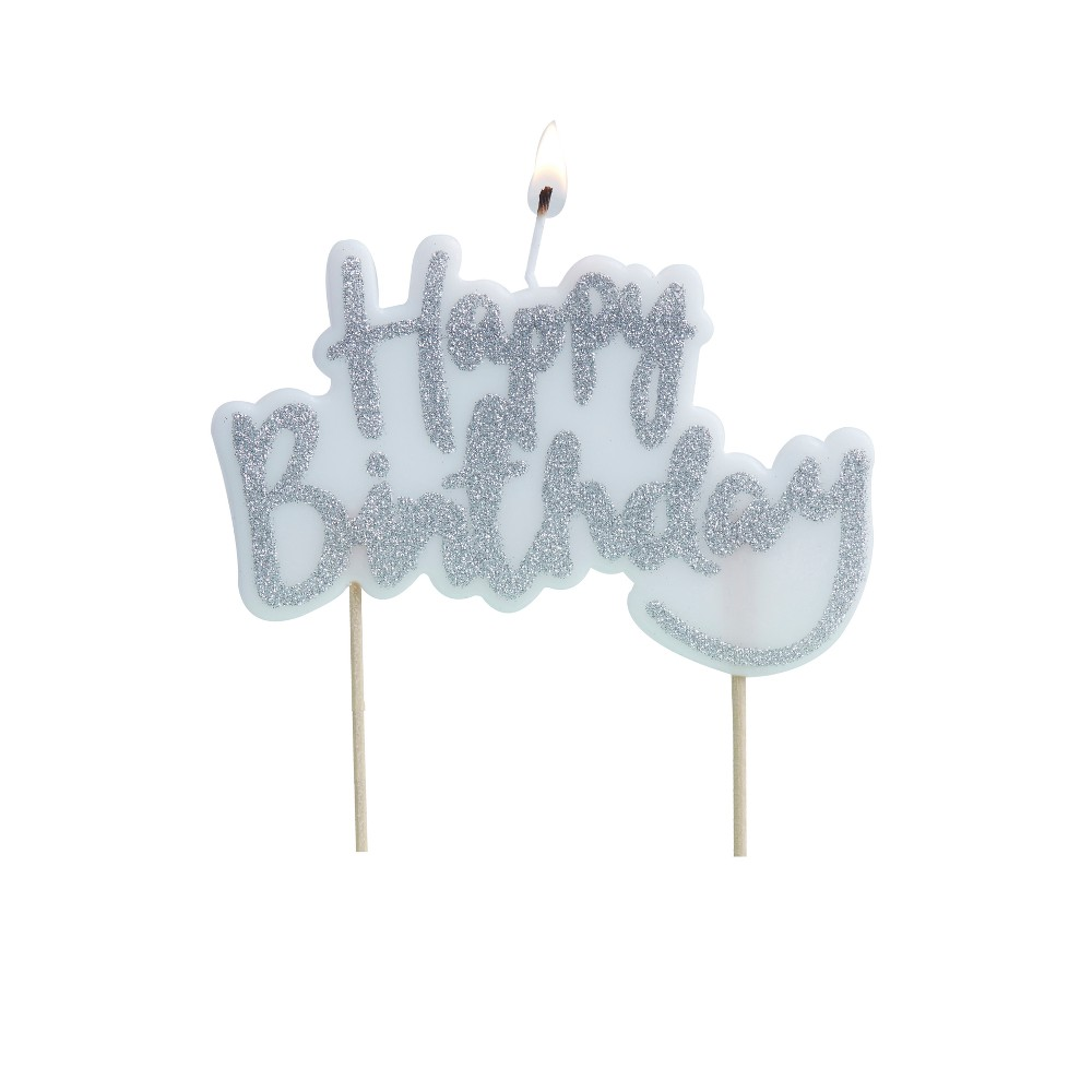 Ginger Ray Silver Happy Birthday Candle Pick And Mix