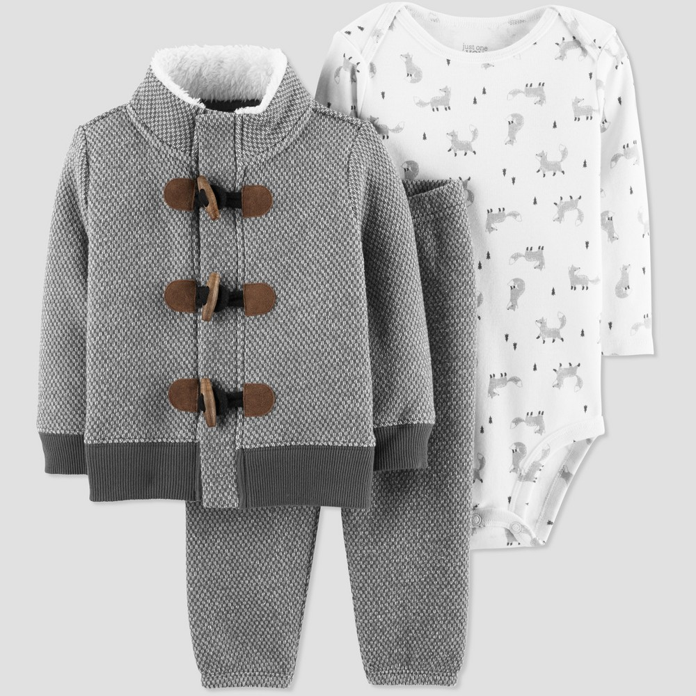 Baby Boys' Foxes 3pc Set - Just One You made by carter's Cream 12M, White