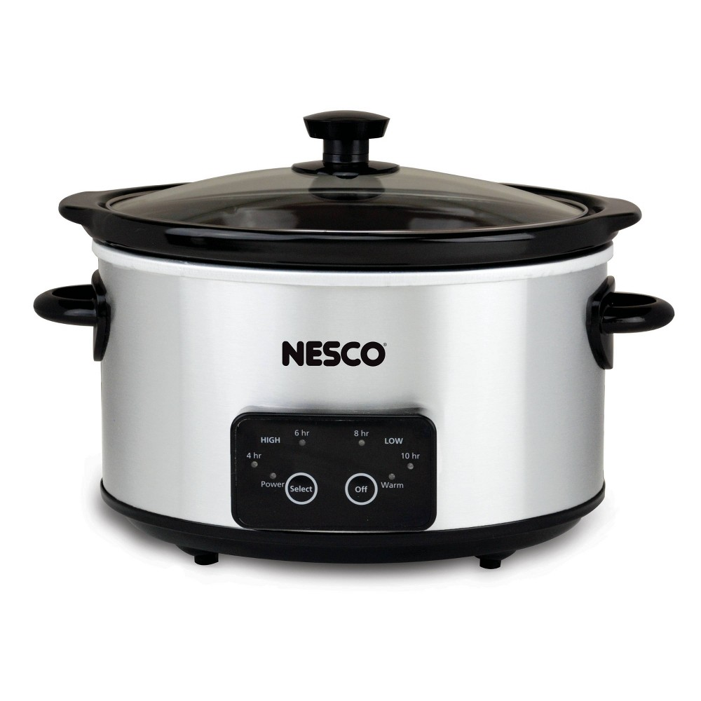 Image of NESCO Slow Cooker 4 Quart Digital Stainless Steel, Silver