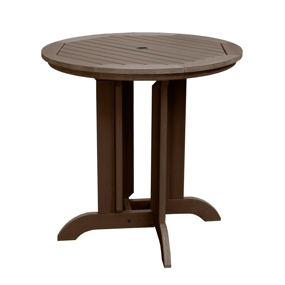 Round 36 Counter Dining Table Weathered Acorn - Highwood