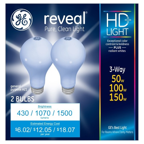 GE Reveal 50/150-Watt 3-Way Long Life Incandescent Light Bulb (2-Pack) - image 1 of 4