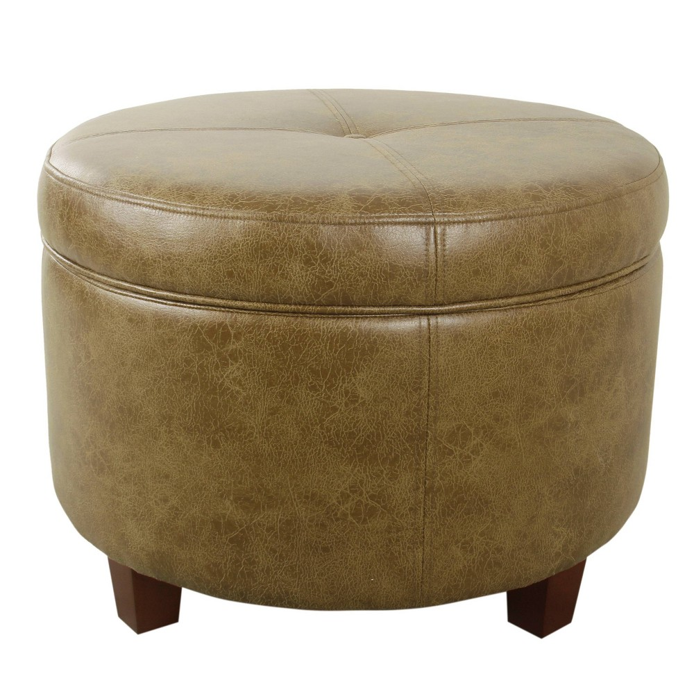 Large Leatherette Storage Ottoman - Distressed Brown Faux Leather - Homepop was $104.99 now $78.74 (25.0% off)
