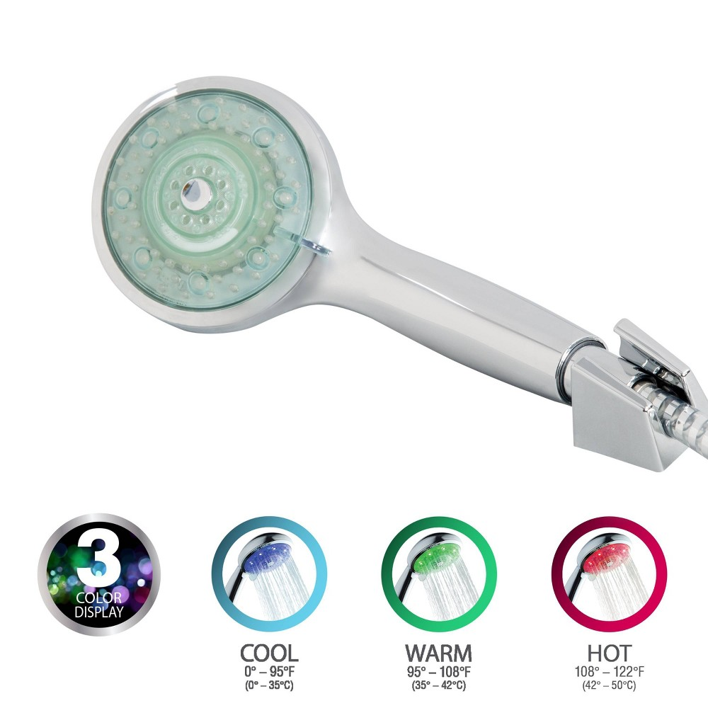 Image of 5 Function Color Changing LED Handheld Showerhead Silver - Bath Bliss