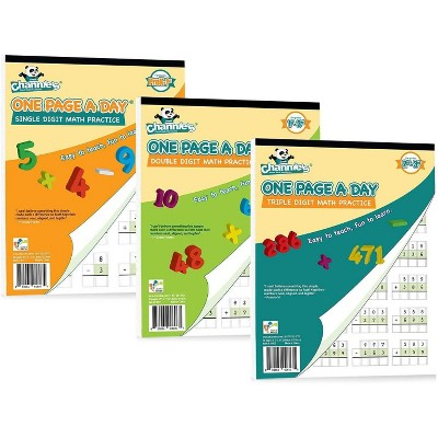 Channie's 3pk One Page a Day Single, Double, Triple Digit Math Worksheets - 2-4th Grades