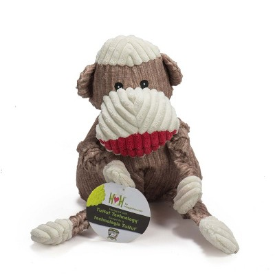 HuggleHounds Knotties Durable Plush Toy for Dogs with Multiple Squeakers, Sock Monkey Knottie