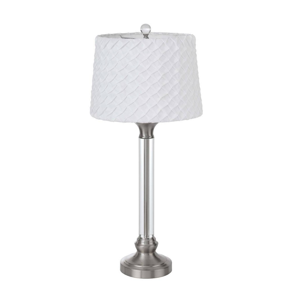 32 34 Metal Crystal Contemporary Table Lamp Brushed Steel Cal Lighting