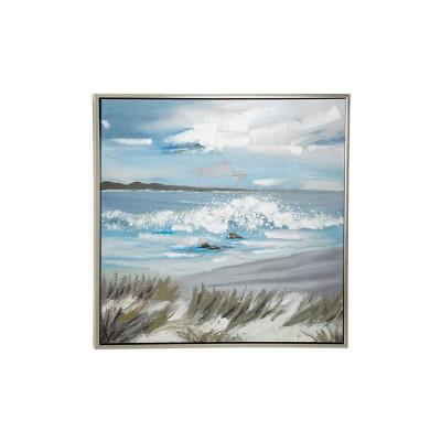 "39.5"" x 39.5"" Large Square Acrylic Painting of Coastal Artwork in Wood Frame - Olivia & May"