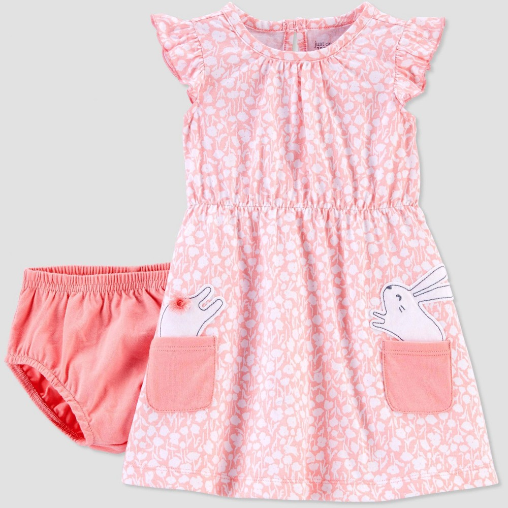 Image of Baby Girls' Bunny Floral Dress - Just One You made by carter's Pink 12M, Girl's