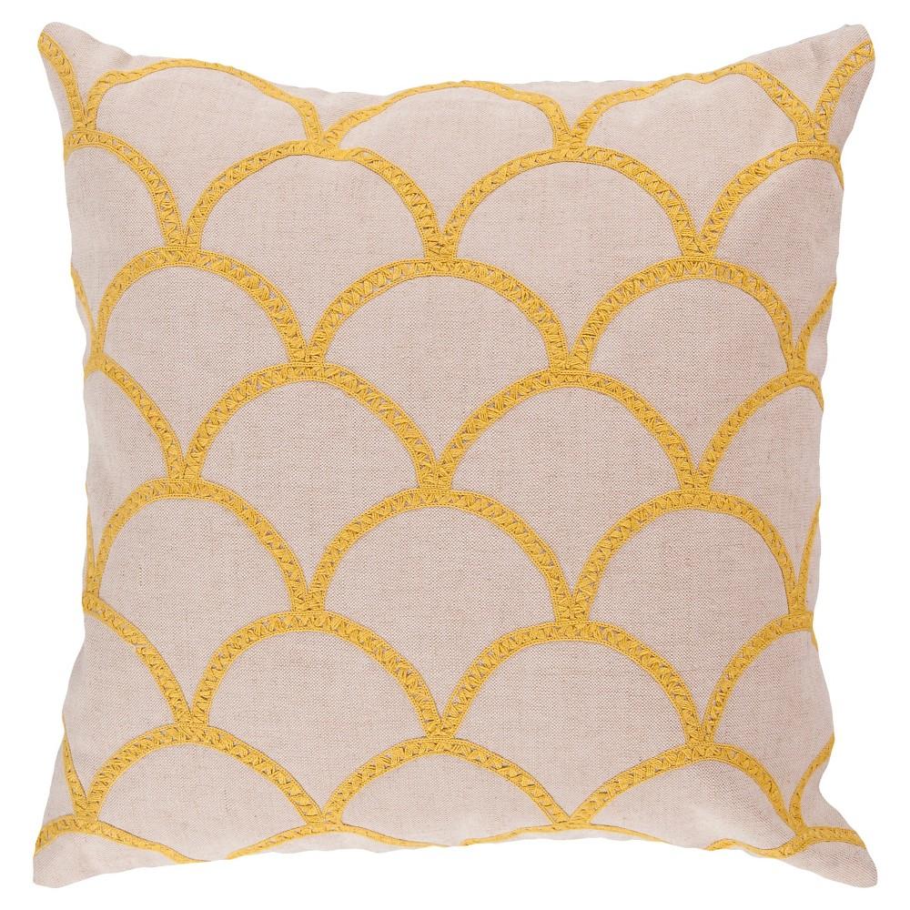 Yellow Scalloped Embroidery Throw Pillow 18