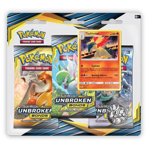 Pokemon Trading Card Game Sun & Moon S9 Unbroken Bonds 3 Pack Blister Featuring Typhlosion - image 1 of 2