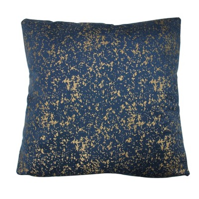 """Northlight 17"""" Square Crackle Velvet Indoor Throw Pillow - Blue/Gold"""
