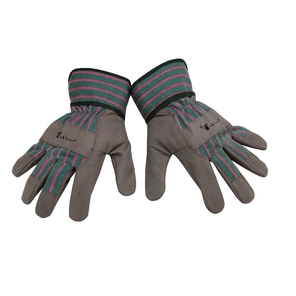 Image of Synthetic Leather Kids' Garden Gloves Gray M - Justforkids