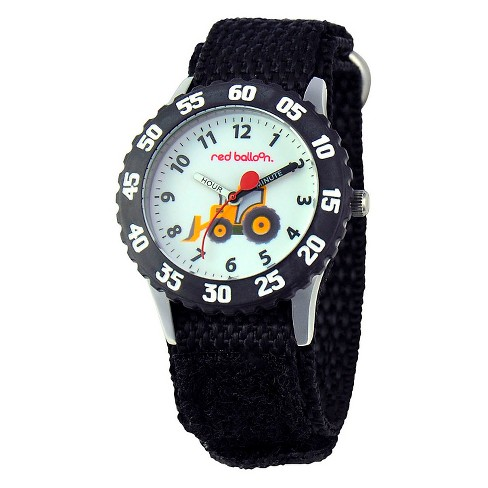 Boys' Red Balloon Construction Site Stainless Steel Time Teacher with Bezel Watch - Black - image 1 of 2