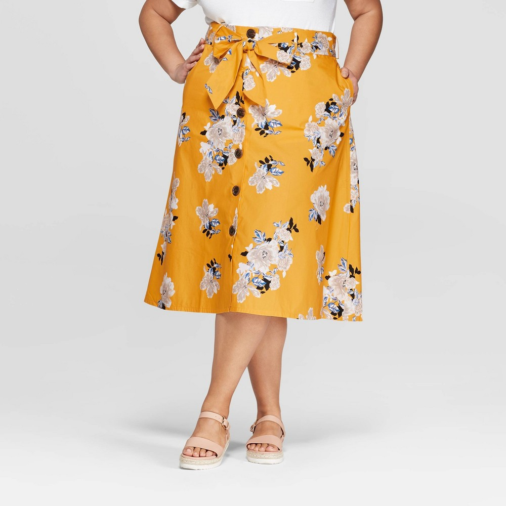 Women's Plus Size Floral Midi Button Front Skirt - Ava & Viv Yellow 4X