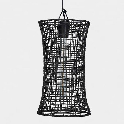Natural Woven Hourglass Pendant Lamp Black (Includes Energy Efficient Light Bulb)- Project 62™ + Leanne Ford
