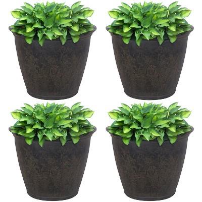 "Sunnydaze Anjelica Polyresin Outdoor/Indoor Unbreakable Double-Walled UV-Resistant Flower Pot Planter - 24"" Diameter - 4-Pack - Sable"