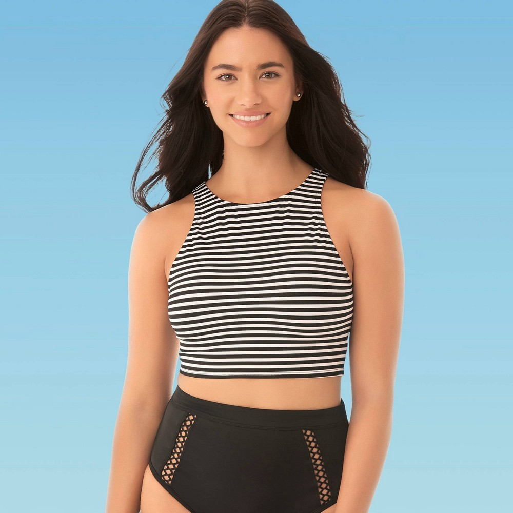 Image of Women's Slimming Control High Neck Bikini Top - Beach Betty By Miracle Brands Black/White L, Women's, Size: Large