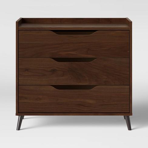 3 Drawer Modern Gallery Dresser Walnut Brown - Room Essentials™ - image 1 of 3