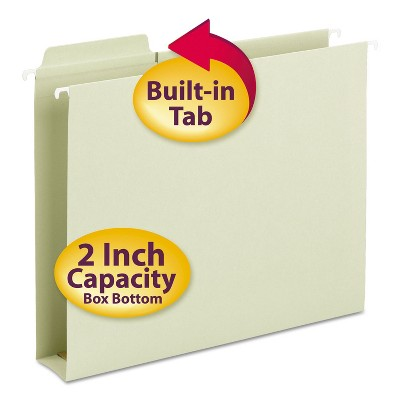 Smead Box Bottom Hanging Folders Built-In Tabs Letter Moss Green 64201