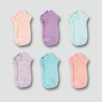 Hanes Premium Girls' 6pk Super Soft No Show Socks - Colors May Vary