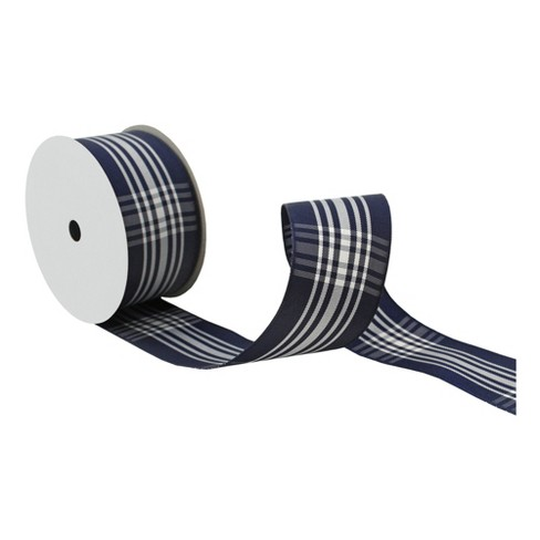 "Navy Plaid 1 1/2"" x 9' Wired Ribbon - image 1 of 2"