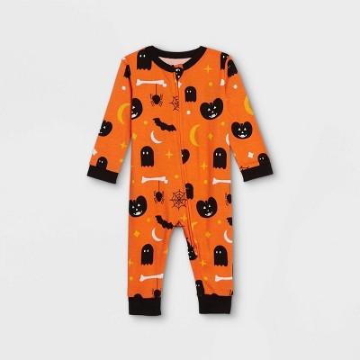 Baby Halloween Spooky Print Matching Family Union Suit - Orange