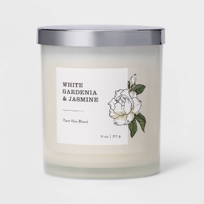 11oz Milky Glass Lidded Jar Candle White Gardenia & Jasmine - Threshold™