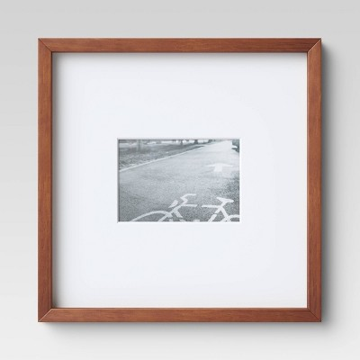 "14"" x 14"" Matted to 5"" x 7"" Mid Tone Single Image Picture Frame Brown - Project 62™"