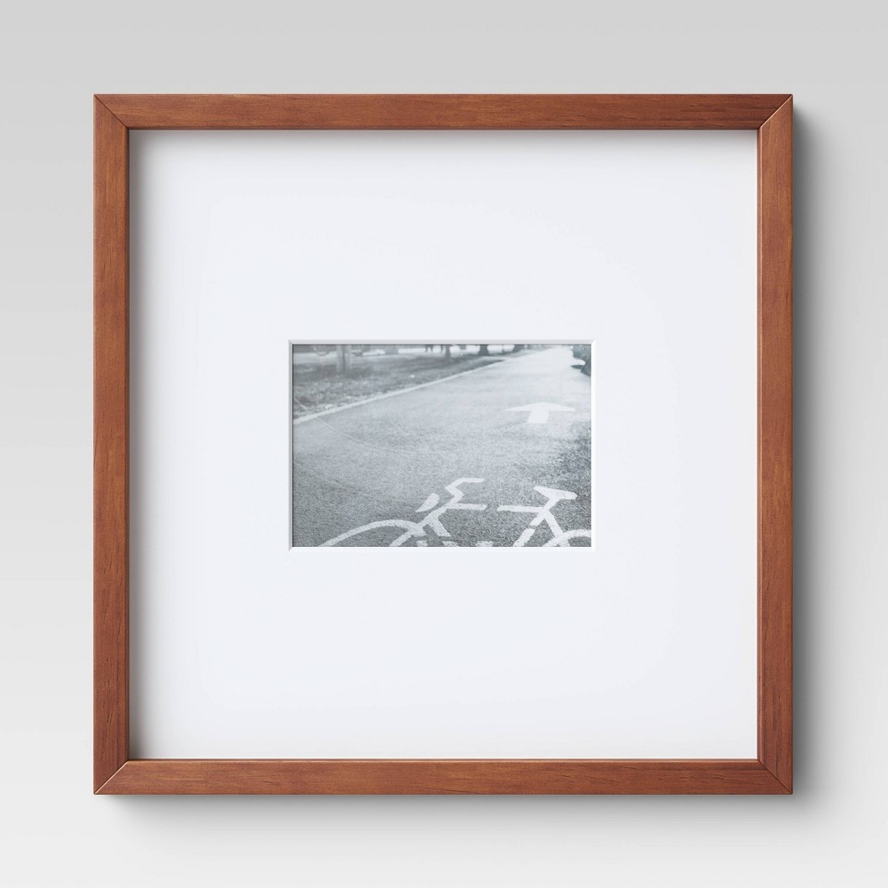 "Image of ""14"""" x 14"""" Matted to 5"""" x 7"""" Mid Tone Single Image Picture Frame Brown - Project 62"""