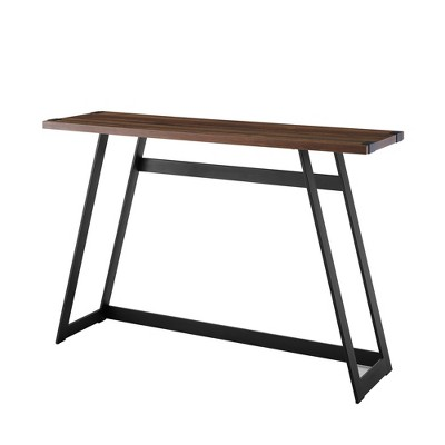 Urban Industrial Entry Table with Wood and Metal Dark Walnut - Saracina Home