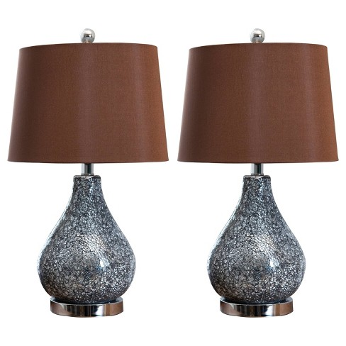 Shelby Set of 2 Mosaic Glass Table Lamps Silver (Lamp Only) - Abbyson Living - image 1 of 3