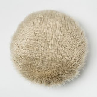 Mongolian Faux Fur Round Throw Pillow Beige - Project 62™