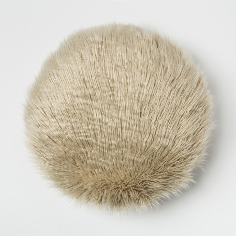 Mongolian Faux Fur Round Throw Pillow - Project 62™ - image 1 of 2