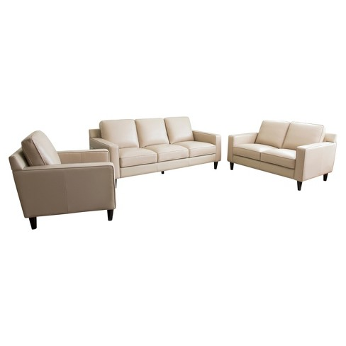 Olivia 3pc Top Grain Leather Sofa Loveseat And Armchair Cream