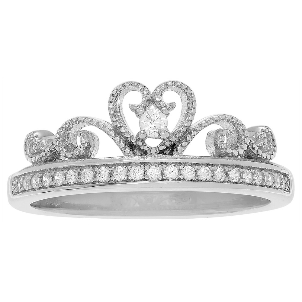 1/2 CT. T.W. Round-cut Cubic Zirconia Basket Set Crown Ring in Sterling Silver - Silver, 8, Girl's