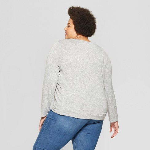 af867a16dfa Women s Plus Size Long Sleeve Scoop Neck Twisted Knit Top - Ava   Viv™ Gray  Heather 4X   Target