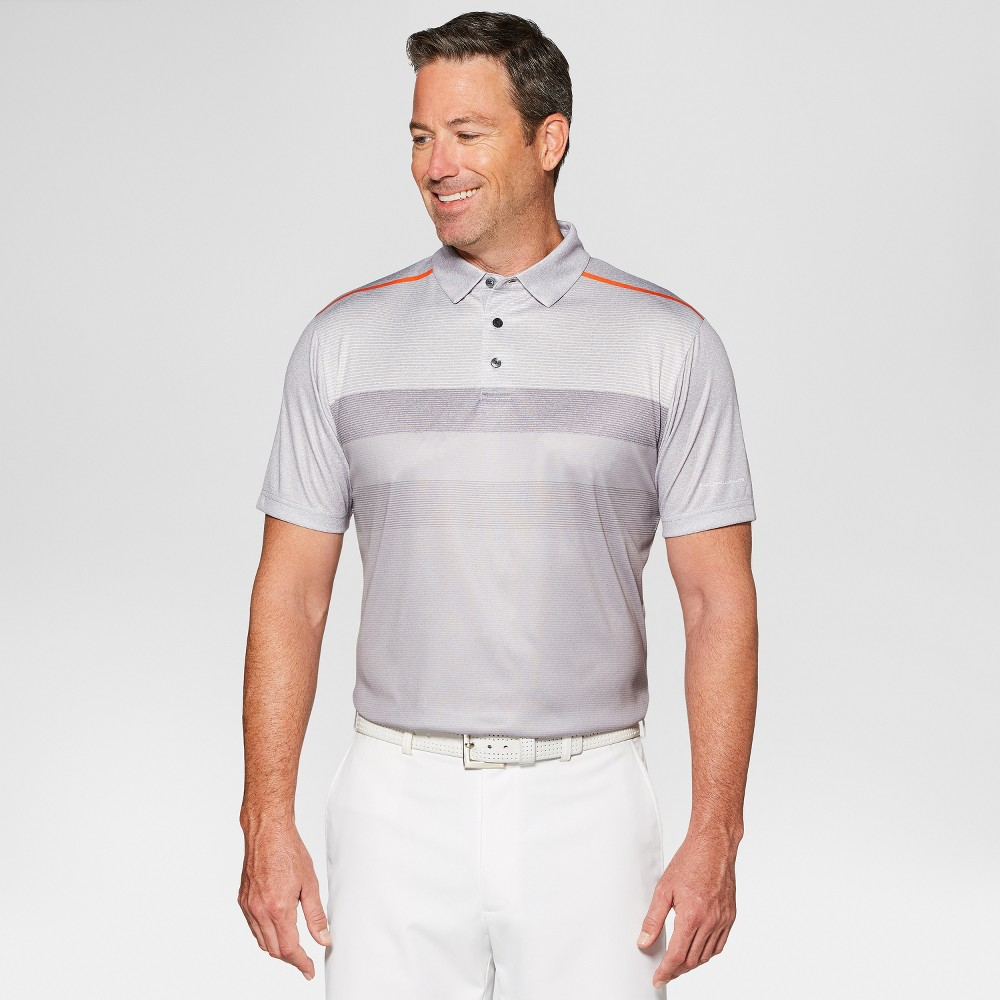 Image of Jack Nicklaus Men's Fade Striped Golf Polo Shirt - Light Grey Heather L, Size: Large, Light Grey Grey