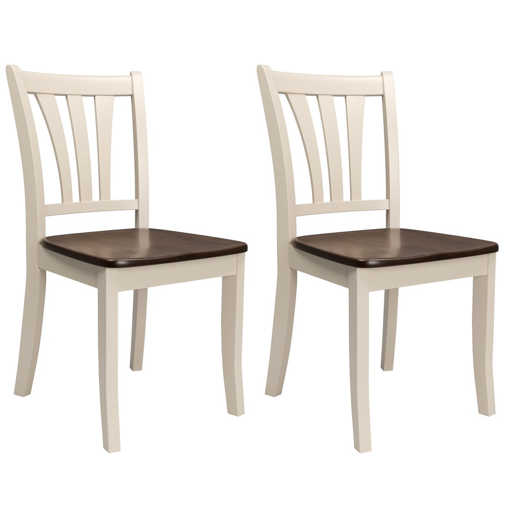 Set of 2 Dining Chairs Cream (Ivory) - CorLiving