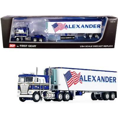 """Kenworth K100 COE Flattop w/ 40' Vintage Reefer Trailer """"Alexander Trucking"""" Blue & White 1/64 Diecast Model by DCP/First Gear"""