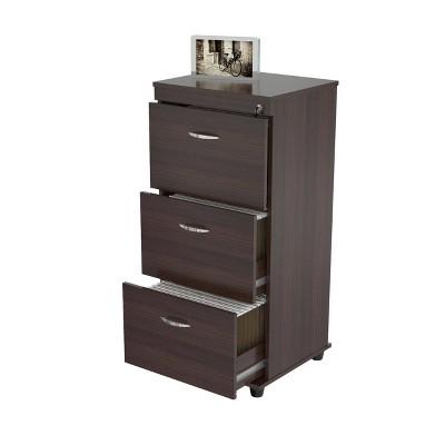 3 Drawer Locking File Cabinet Espresso - Inval