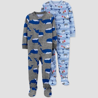 Toddler Boys' 2pk Pirate/Whale Footed Pajama - Just One You® made by carter's Blue