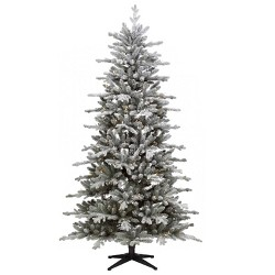 7ft Pre-lit Artificial Christmas Tree Flocked Blue Green Balsam Fir Auto Connect Clear Lights - Wondershop™