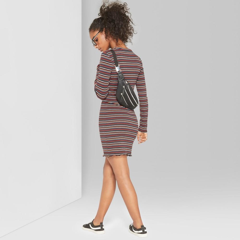 Women's Striped Long Sleeve Rib-Knit Dress - Wild Fable M, Multicolored