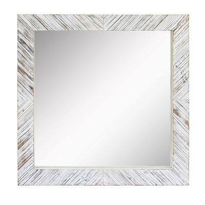 Wood Chevron Decorative Wall Mirror White - Stonebriar Collection