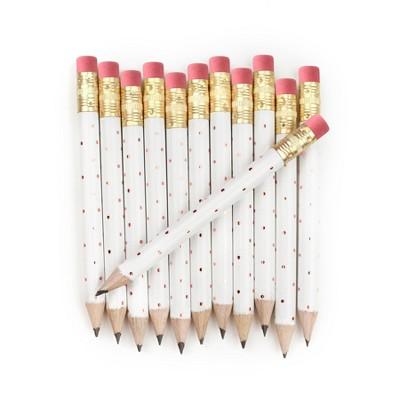 12pk Mini Pencils Polka Dots Foil Rose Gold
