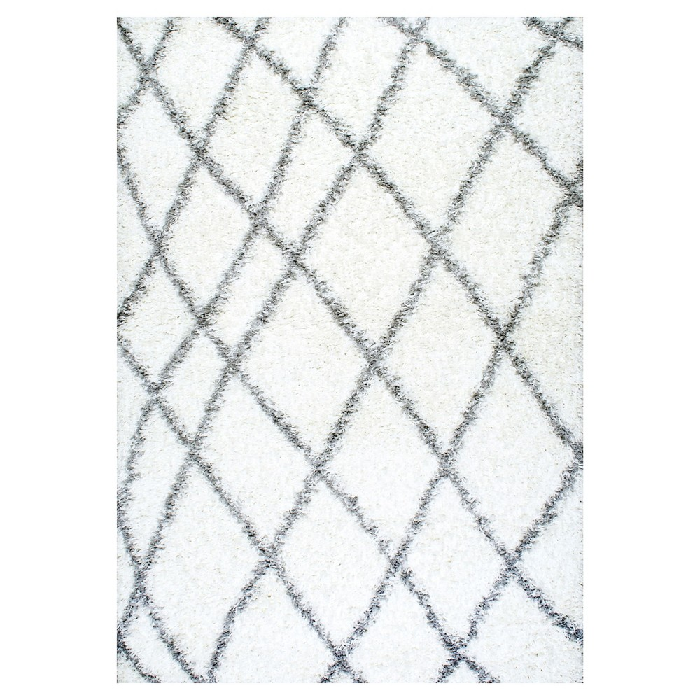 White Abstract Loomed Runner - (2'8x8') - nuLOOM